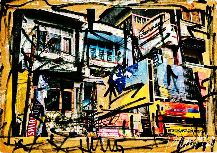 Pedro Meier – Häuserfront übermalt – aus Zyklus: Urbanart Architekturskizzen – ArtWork by © Pedro Meier Multimedia Artist, 2017 – Atelier: Gerhard Meier-Weg Niederbipp und Bangkok Thailand – Kunsthalle Olten – DADA FLUXUS VISARTE, DIGITALART SIKART Zürich