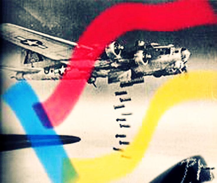 Pedro Meier Berlin Luftkrieg übermalte Fotografien, Overpainted Photographs. Bombenabwurf. Luftterror. 2018 Foto © Pedro Meier Multimedia Artist. Ateliers: Gerhard Meier-Weg Niederbipp, Kunsthalle Olten Offspace. Bangkok Art Group. Visarte, SIKART Zürich