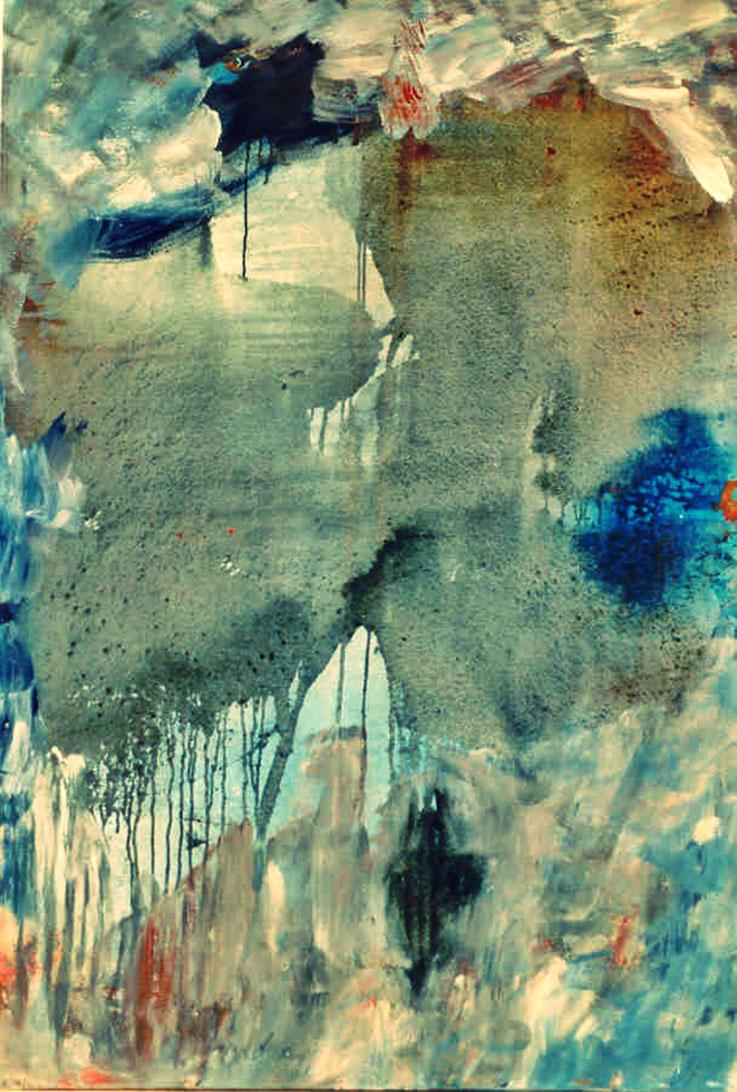 Pedro Meier Bild: – »Insel Rügen Nr. 2« – Öl /Lack auf Leinwand – 200 x 150 cm 1995 – Fabrik-Atelier Studio Roggwil-Wynau – Shedhalle – Gugelmann-Areal (abgebrannt 2001) Schweiz – Photo © Pedro Meier Multimedia Artist / ProLitteris – Niederbipp – Bangkok