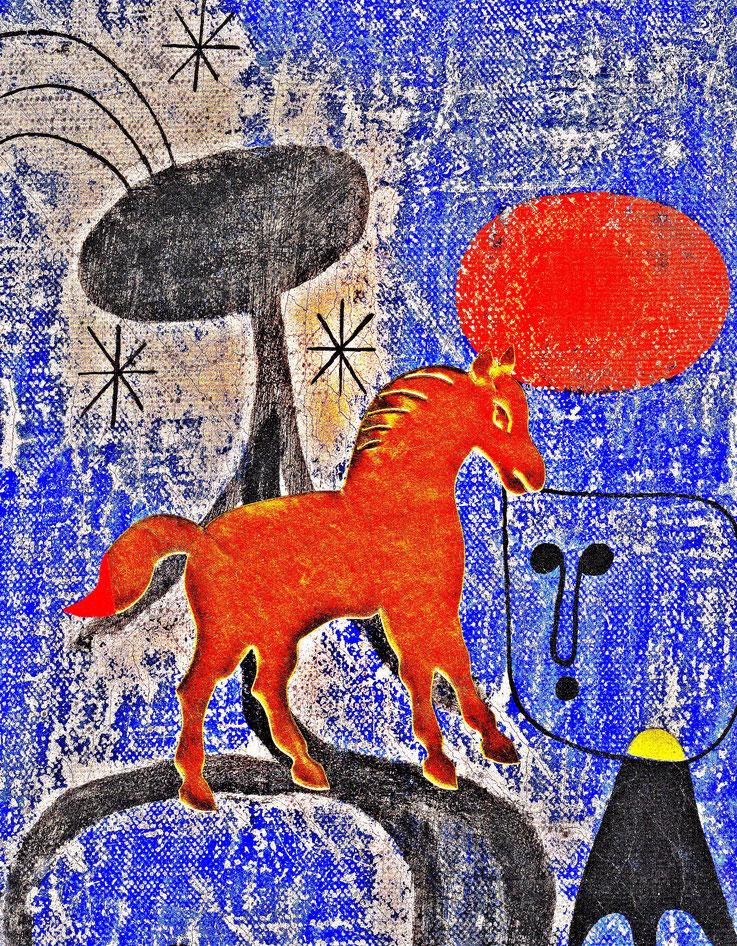 Pedro Meier – »A golden horse in a painting of Joan Miró« – Mixed Media artwork by Pedro Meier – 2017 – Photo © Pedro Meier Multimedia Artist / ProLitteris – Gerhard Meier Weg Atelier – Niederbipp – Olten – Bangkok