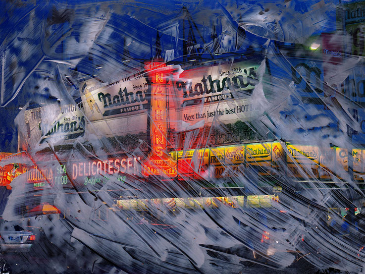 Pedro Meier – Delicatessen – Coney Island – Oil/lacquer on photo paper – Monotype – 2018 – Dreamland Luna Park, Brooklyn – New York – Photo © Pedro Meier Multimedia Artist MoMA Bangkok – FLUXUS – DADA – SIKART Zürich – Gerhard Meier Weg Niederbipp