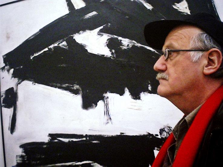 Pedro Meier vor Bild »Abstract« 2003 – Öl /Lack auf Leinwand – »Selfie Art Project« – Pedro Meier Multimedia Artist Gerhard Meier Weg Niederbipp – Olten – Bangkok