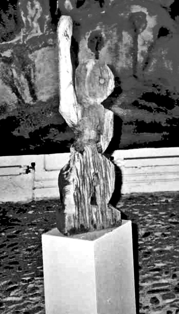 Pedro Meier – »Eisenbahner« Skulptur 1987, Eichenholz alte Eisenbahnschwelle – Bremgarten Galerie Zur gelben Frau – Atelier: Gerhard Meier-Weg Niederbipp und Bangkok – Kunsthalle Olten Offspace – Visarte FLUXUS DADA DigitalArt PhotoArt – SIKART Zürich