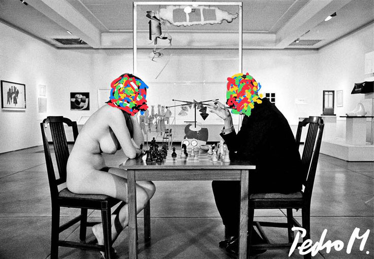 Pedro Meier – Marcel Duchamp Nude Chess Match with Eve Babitz Chelsea Studio New York – DigitalArt Intervention by © Pedro Meier Multimedia Artist – Kunsthalle Olten – Atelier Gerhard Meier-Weg Niederbipp und Bangkok Thailand – PhotoArt  DADA, SIKART ZH