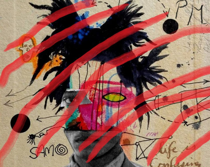 Pedro Meier DigitalArt – Jean-Michel Basquiat – Paraphrase Nr. 25 – Portrait overpainted 2015 Artwork by © Pedro Meier Multimedia Artist MoMA – Visual Art Museum Bangkok – FLUXUS – DADA – ComputerArt. SIKART Zürich – Niederbipp Bern, Solothurn Switzerland