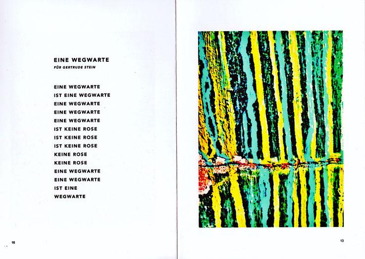 Pedro Meier – Gedicht WEGWARTE, für Gertrude Stein, aus dem Lyrikbuch PARALLELWELTEN – Wasteland Factory oder Der Garten der Lüste –In Search of Lost Time – Lyrik und Mauerspuren – AMRAIN BOOKS Literatur Verlag. ISBN 978-3-9525246-0-2 – Broschur sFr 19.90