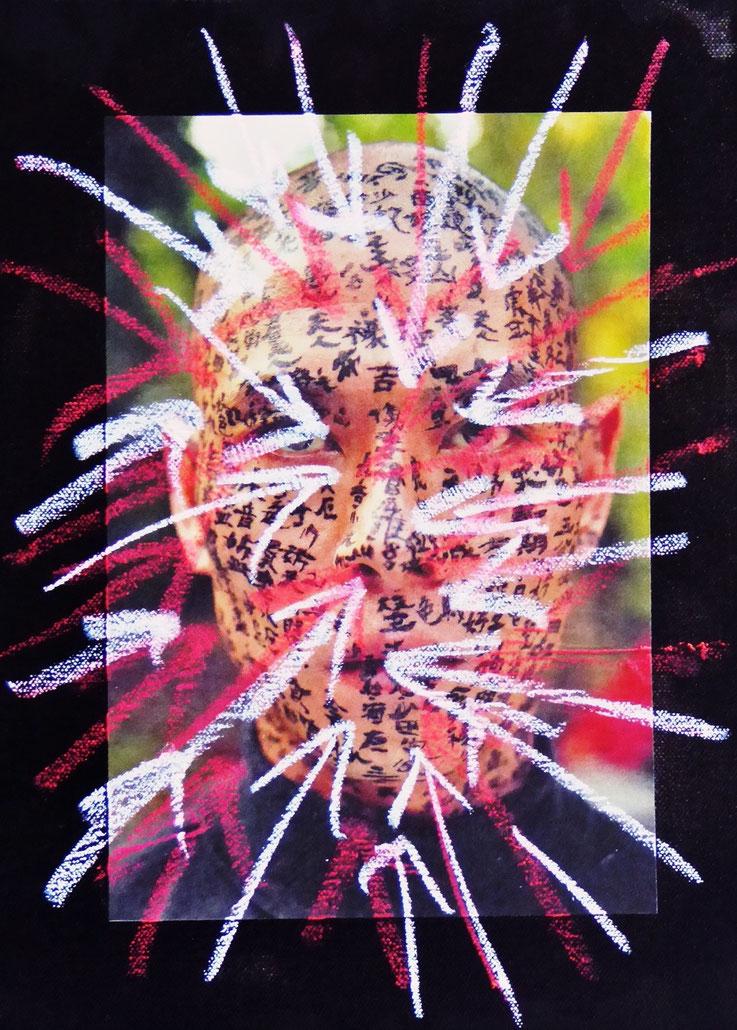 Pedro Meier Art – Chinesischer Männerkopf – übermalt 2016 – Ölstift über Foto auf Leinwand – Photo © Pedro Meier Multimedia Artist / ProLitteris – Gerhard Meier Weg – Niederbipp – Olten – Bangkok