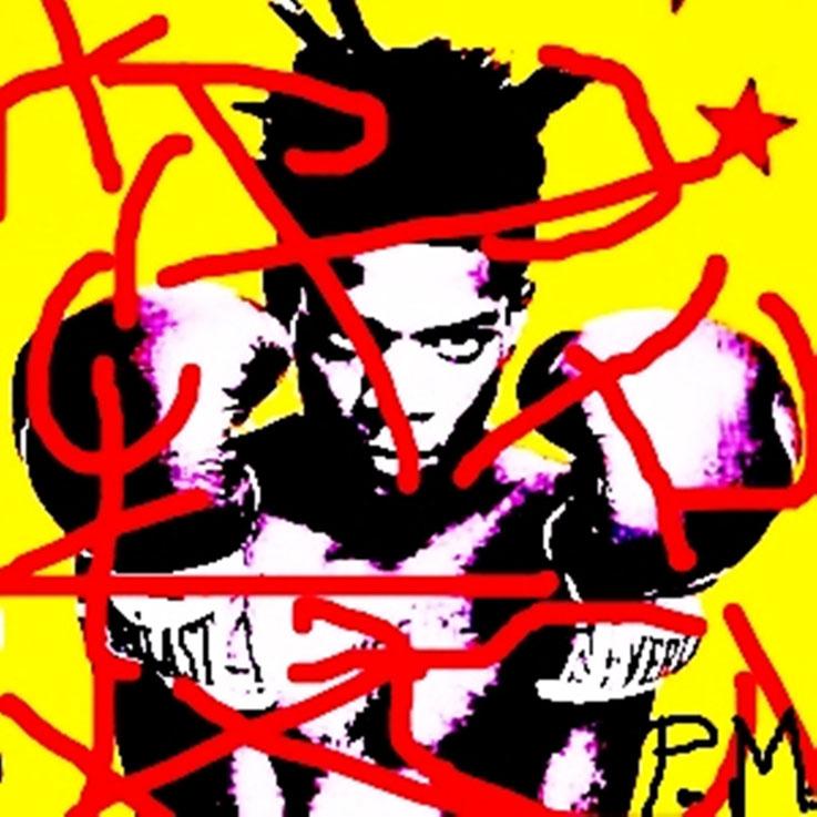 Pedro Meier – »Jean-Michel Basquiat übermalt« – Paraphrasen – Portrait Nr. 19 – 2015 – Acryl über Foto-Papier – Photo © Pedro Meier Multimedia Artist / ProLitteris – Gerhard Meier Weg – Niederbipp – Olten – Bangkok