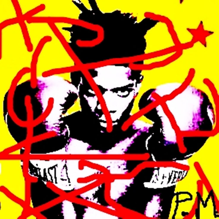 Pedro Meier DigitalArt – Jean-Michel Basquiat – Paraphrase Nr. 19 – Portrait overpainted 2015 Artwork by © Pedro Meier Multimedia Artist MoMA – Visual Art Museum Bangkok – FLUXUS – DADA – ComputerArt. SIKART Zürich – Niederbipp Bern, Solothurn Switzerland