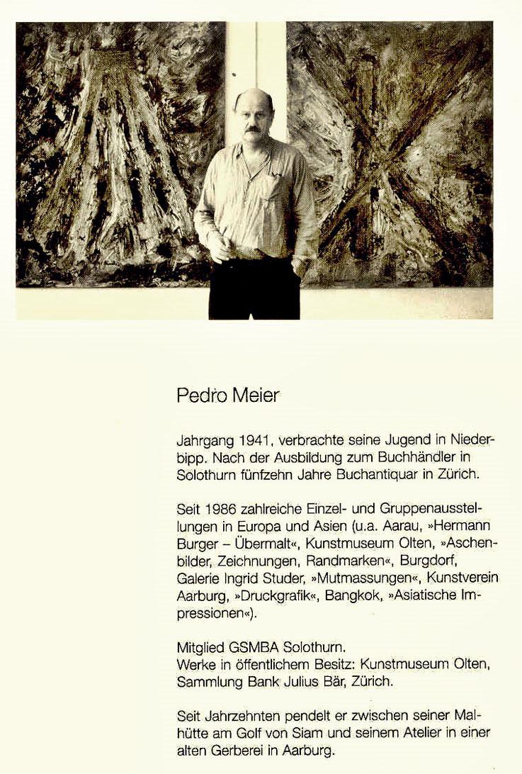 Kunsthaus Grenchen – Solo-Ausstellung von Pedro Meier Multimedia Artist – Einladungsflyer (Rückseite) – 1995 – Foto Archiv Pedro Meier