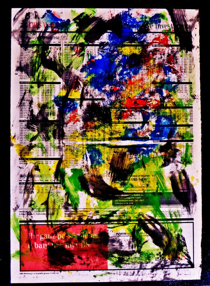 Pedro Meier Artist – NZZ Börsen & Märkte – übermalt – Lackfarben – 2016 – Foto © Pedro Meier Multimedia Artist Gerhard Meier Weg – Niederbipp – Olten – Bangkok