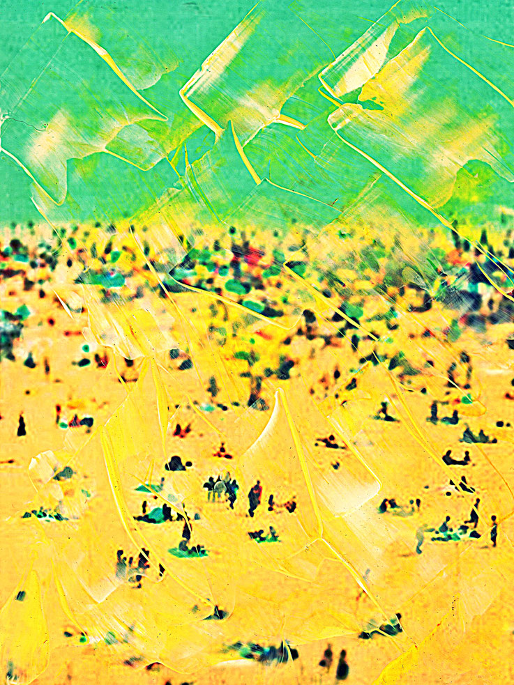 Pedro Meier – Yellow beach – Coney Island – Oil/lacquer on photo paper – Monotype – 2018 – Dreamland Luna Park, Brooklyn – New York – Photo © Pedro Meier Multimedia Artist MoMA Bangkok – FLUXUS – DADA – SIKART Zürich – Gerhard Meier Weg Niederbipp