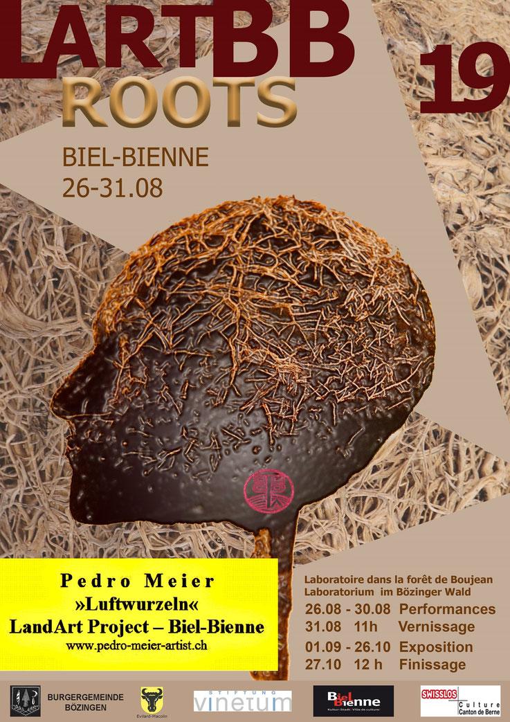 Pedro Meier – Luftwurzeln – LandArt Projekt – Performance – Land Art Biel-Bienne 2019, Laboratorium Kunst im Bözinger Wald. By © Pedro Meier Multimedia Artist Niederbipp. Kunsthalle Olten. Bangkok Art Group BACC. Visarte Schweiz – Lexikon SIKART Zürich