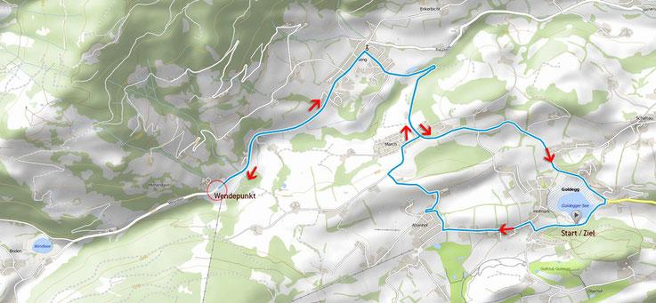Radstrecke: 12 km / 200 Höhenmeter