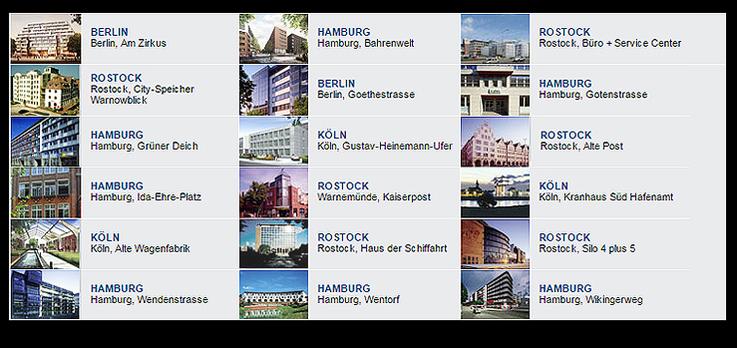 """Grafik: """"Projektentwicklung - fertiggestellte Projekte in Hamburg, Berlin, Rostock, Köln"""" DEUTSCHE IMMOBILIEN Entwicklungs GmbH, Hamburg"""