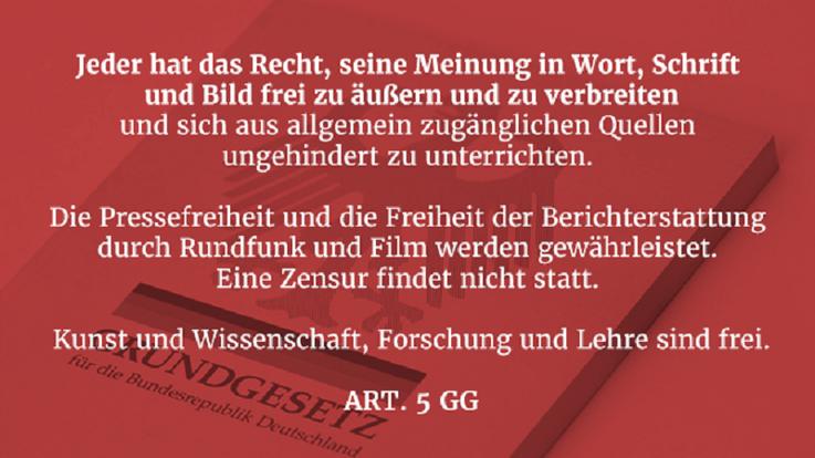 Meinungsfreiheit Art. 5 GG Artikel 5 Grundgesetz Pressefreiheit Berichterstattung Wissenschaft Forschung Lehre Bild