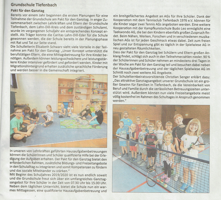 05.09.2019 Grundschule Tiefenbach Pakt für den Ganztag (Stadtnachrichten Solms und Braunfels)