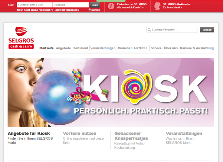 Webseite Selgros