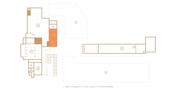 Grundriss der Veranstaltungs- und Eventlocation Halle Tor 2 mit Augenmerk auf des Cafés (Orange markiert)