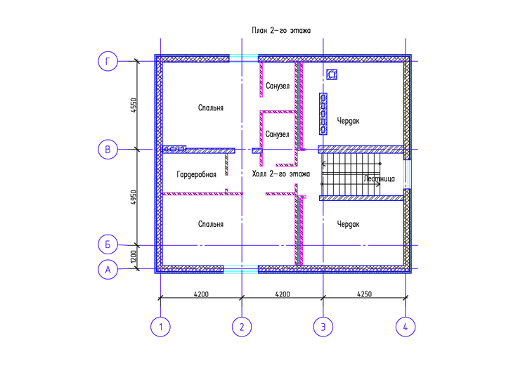 Коттедж, КП Алексеевка, план 2-го этажа ДО