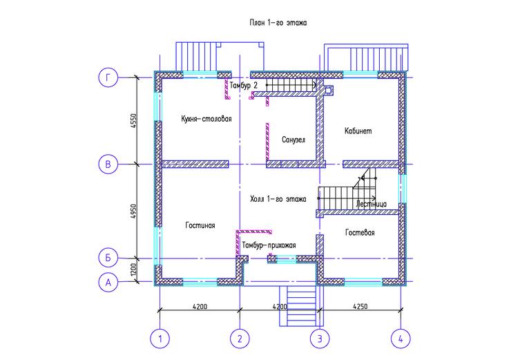 Коттедж, КП Алексеевка, план 1-го этажа ДО