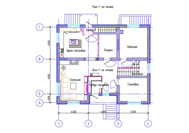 Коттедж КП Алексеевка план 1-го этажа ПОСЛЕ