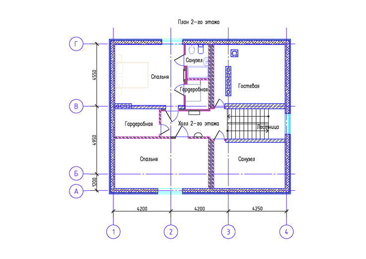 Коттедж КП Алексеевка план 2-го этажа ПОСЛЕ