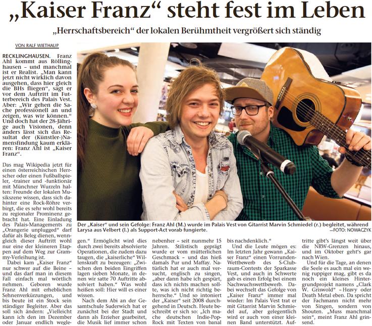 Recklinghäuser Zeitung, 01.04.2016 © Ralf Wiethaup, Foto: Nowaczyk