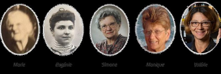 Les 5 générations de femmes du Château du Payre : Marie, Eugénie, Simone, Monique et Valérie