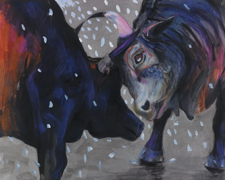 art bulls painting oil painting silver bull stiere Gemälde Malerei Tanja Gott