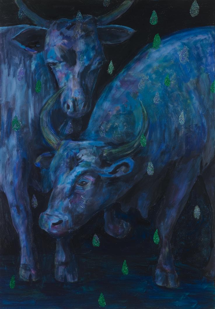 art bulls painting oil painting glitter blue black bull stiere Gemälde Malerei Tanja Gott
