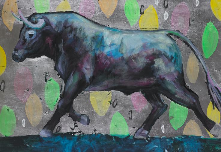 art bulls painting oil painting glitter silver bull stiere Gemälde Malerei Tanja Gott