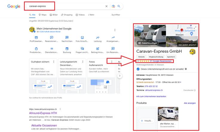 Anleitung Google Rezension abgeben Allround-Express HTH