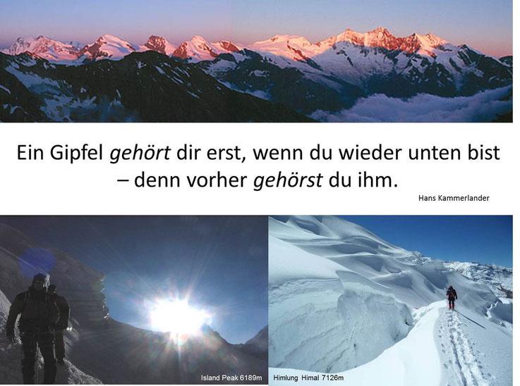 li. Karl und ich beim Sonnenaufgang nach einer kalten, kurzen Nacht am Island Peak, re. der Gletscherbruch am Himlung Himal 7126m beide Berge sind im Himalaya / Nepal