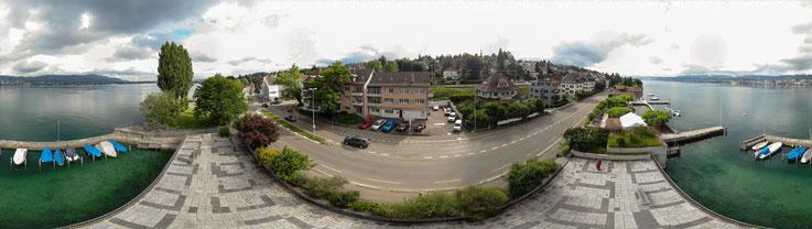 Panoramaansich der Garage von Drohne aufgenommen