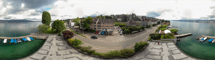 Panoramaansicht der Garage von Drohne aufgenommen