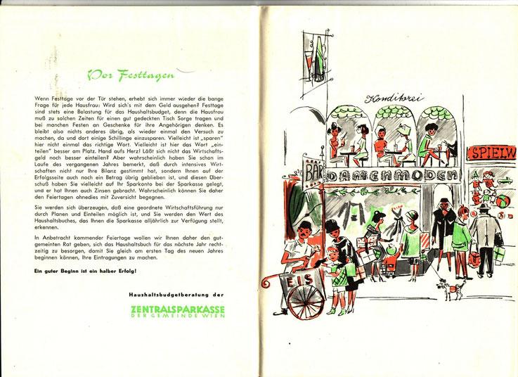 Der elegante Einkaufsbummel der Hausfrauen - wie ihn sich Heinz Traimer 1959 vorstellte. Grafik aus einem Haushaltsbuch der Sparkassen und Zentralsparkasse.