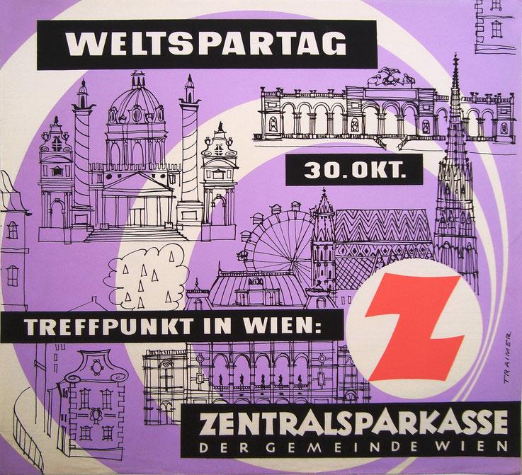 Plakat Wiener Sehenswuerdigkeiten ( Zentralsparkasse Wien. Weltspartag um 1958).