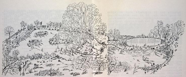 Die Litchkaut im Sommer 1992, Federzeichnung von Andrea Buch