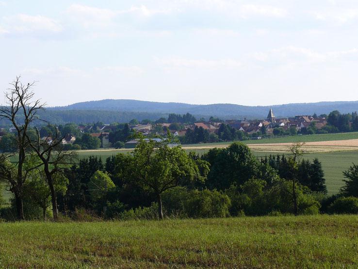 Der Linsenberg (im Vordergrund) und Kirch-Göns (im Hintergrund)