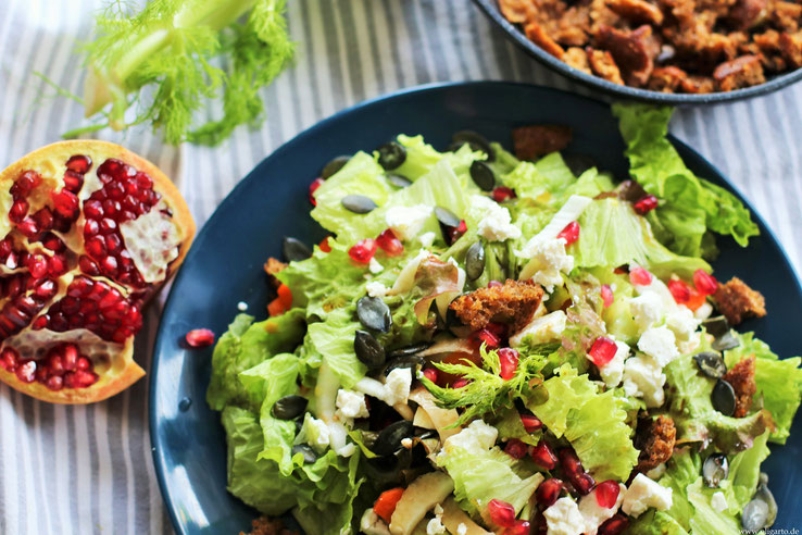 Wintersalat with Pomegranate and Feta Cheese Oligarto Recipe Blogzine