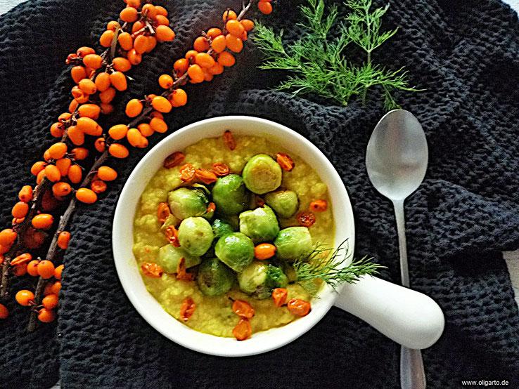 Blumenkohl Bowl mit Rosenkohl, Sanddorn Rezepte Oligarto Blogzine