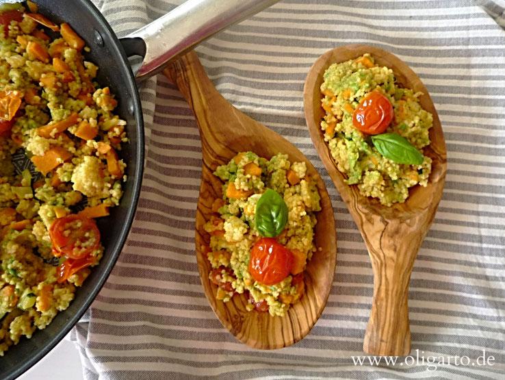 Oligarto Blogzine Rezepte Olivenöl  Hirse mit Avocado und Süßkartoffel