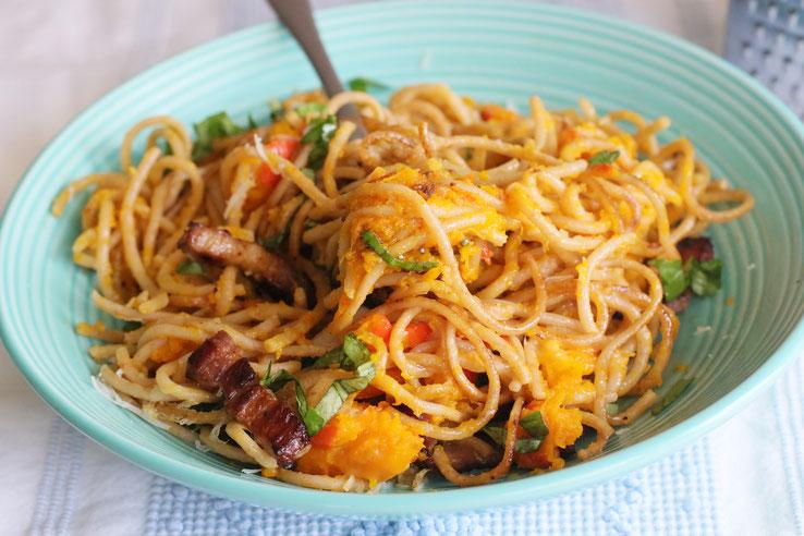 Vollkornspaghetti mit Kürbis und Bacon Rezepte Kochen OLigarto Blogzine