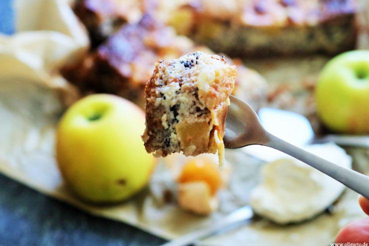 Apfelkuchen mit Mohn Mascarpone und nativem Olivenöl extzra Rezepte Backen OLigarto