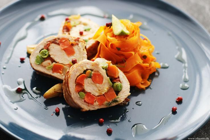 Putenroulade mit Karotten Tagliatellen Oligarto Blogzine Rezepte Kochen