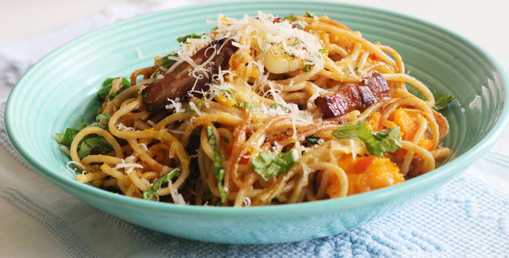 Rezepte Kochen Vollkornspaghetti mit Kürbis Oligarto Blogzine