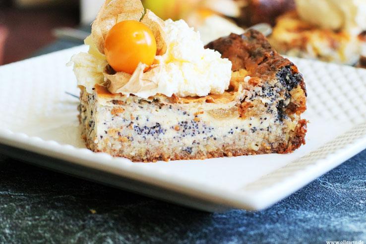 Kuchen mit Mohn Apfel Mascarpone und nativem Olivenöl extra Rezepte Backen Oligarto Blogzine