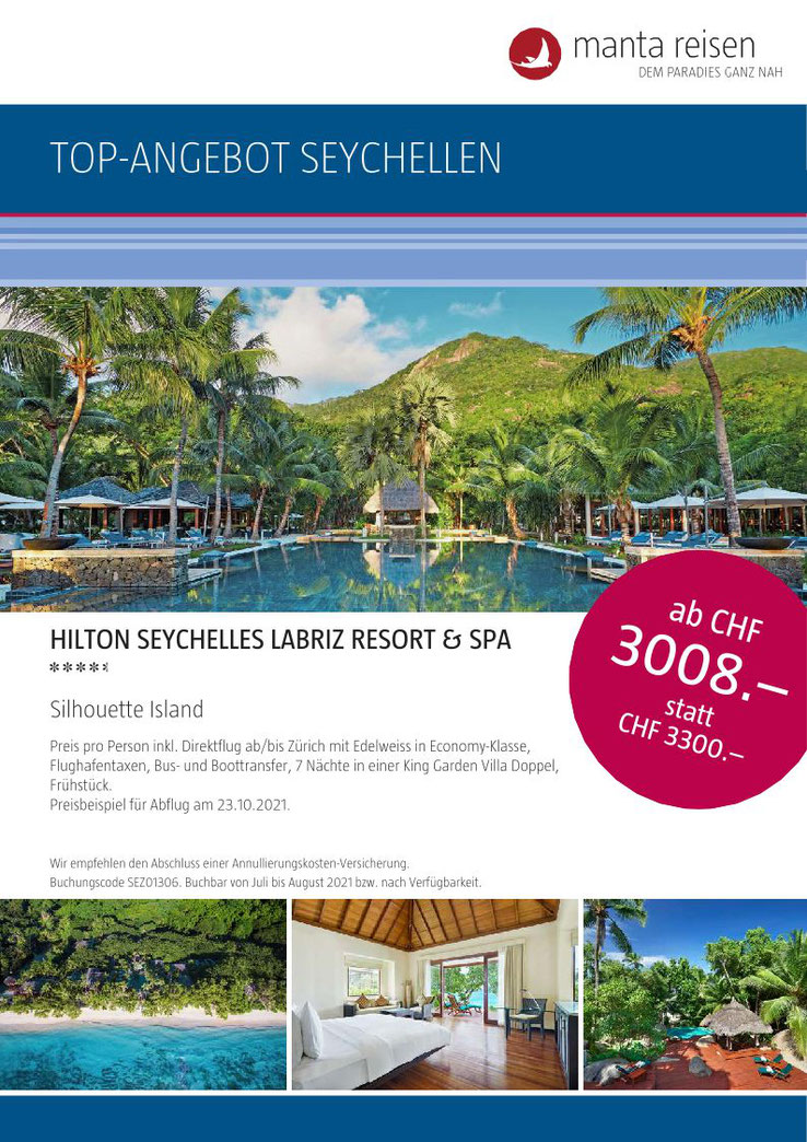 TravelBrain Seychellen-Angebot von Manta Reisen