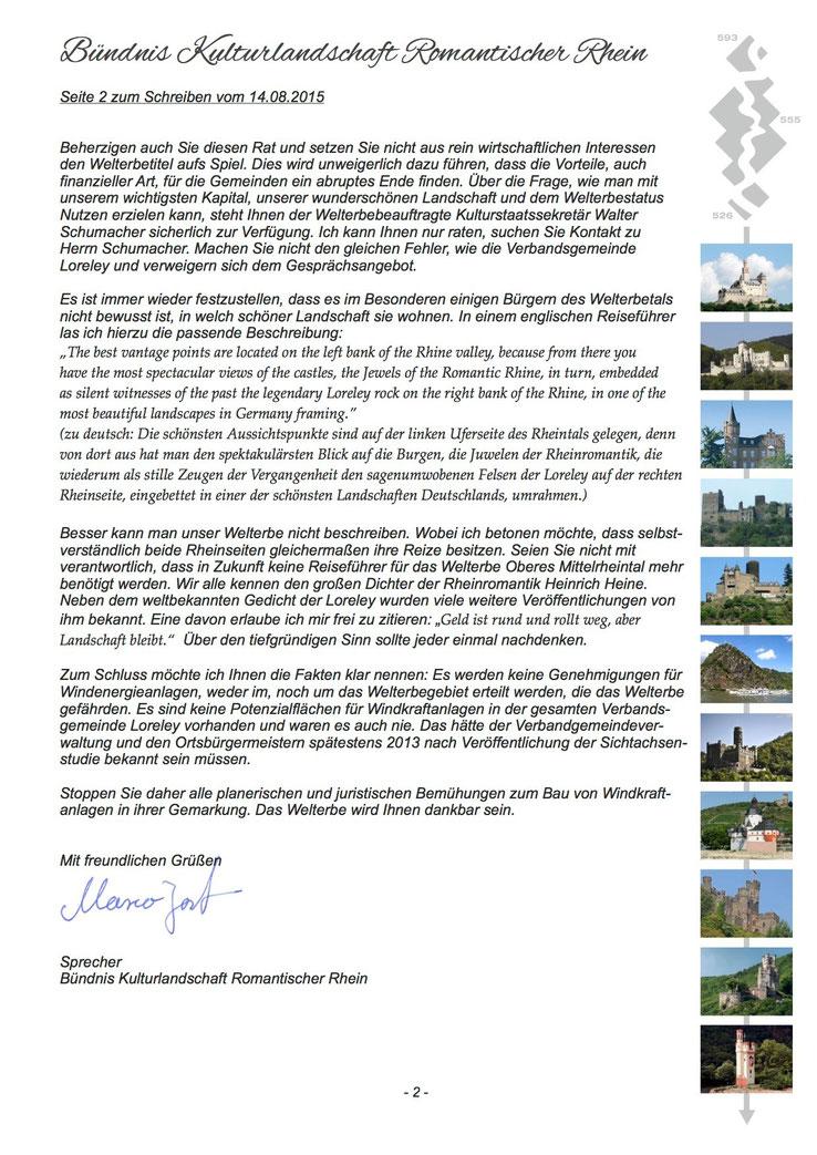 Offener Brief des Bündnis Kulturlandschaft Romantischer Rhein (Seite 2)